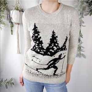 J. CREW Intarsia Knit ski scene sweater grey